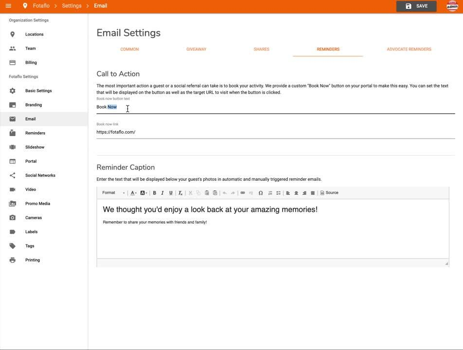Settings - Email - Reminders
