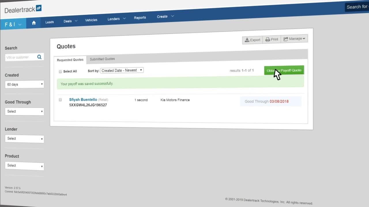 Dealertrack uniFI® Payoff Quotes