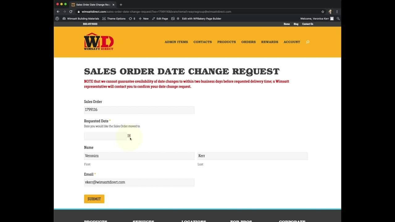 Wimsatt Order Delivery Date copy