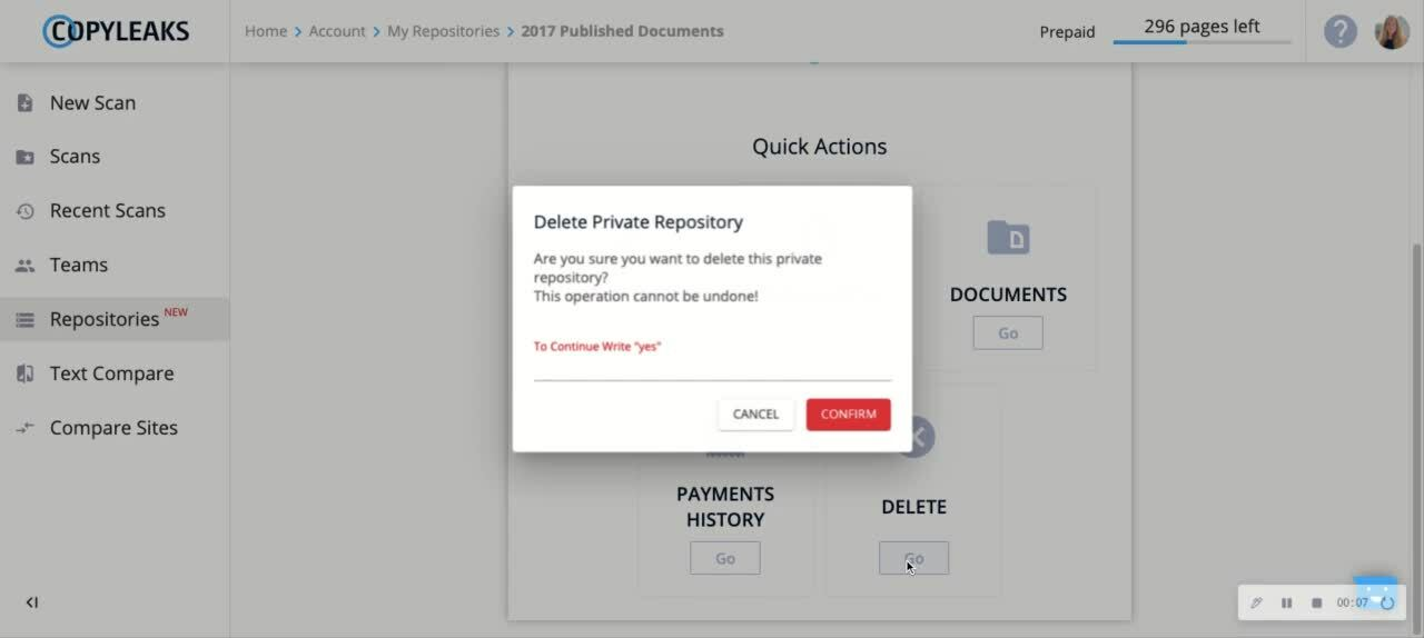 Delete Repository