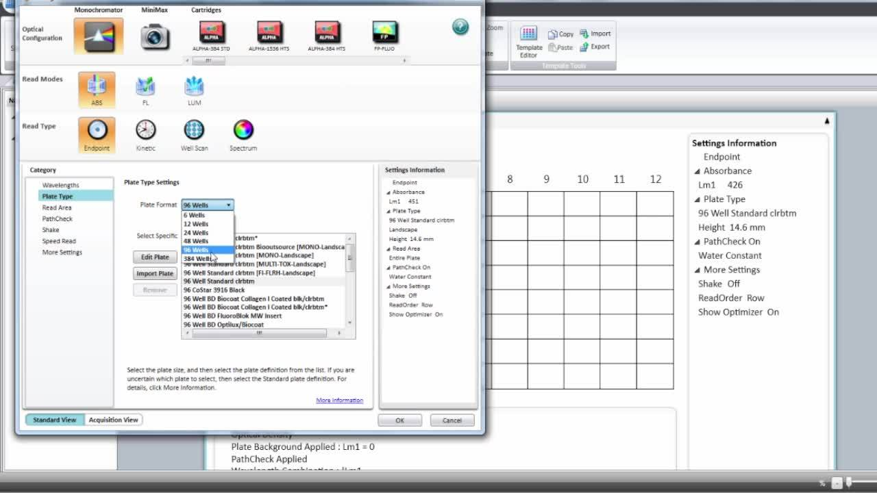 Setting up an absorbance assay in SoftMax Pro 7 Software