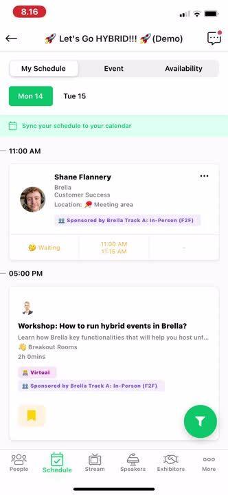 Schedule mobile meetings