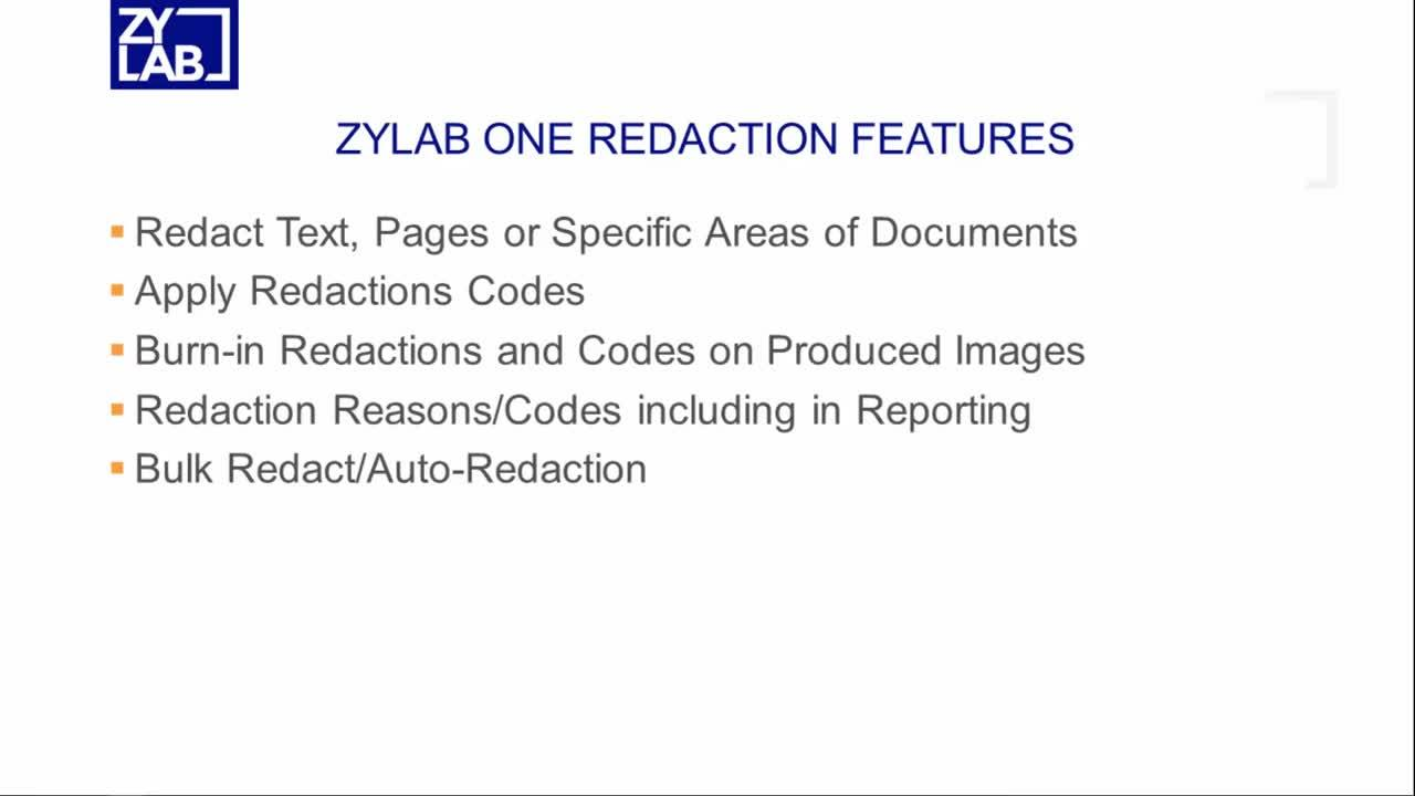 ZyLAB One Redactions Update