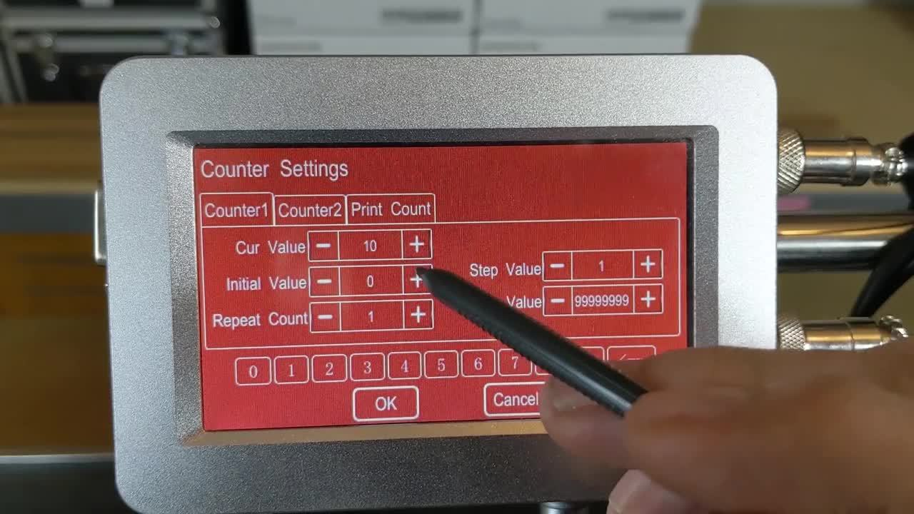 Meenjet MX1 Printer - Overview of the Counter Function Screen
