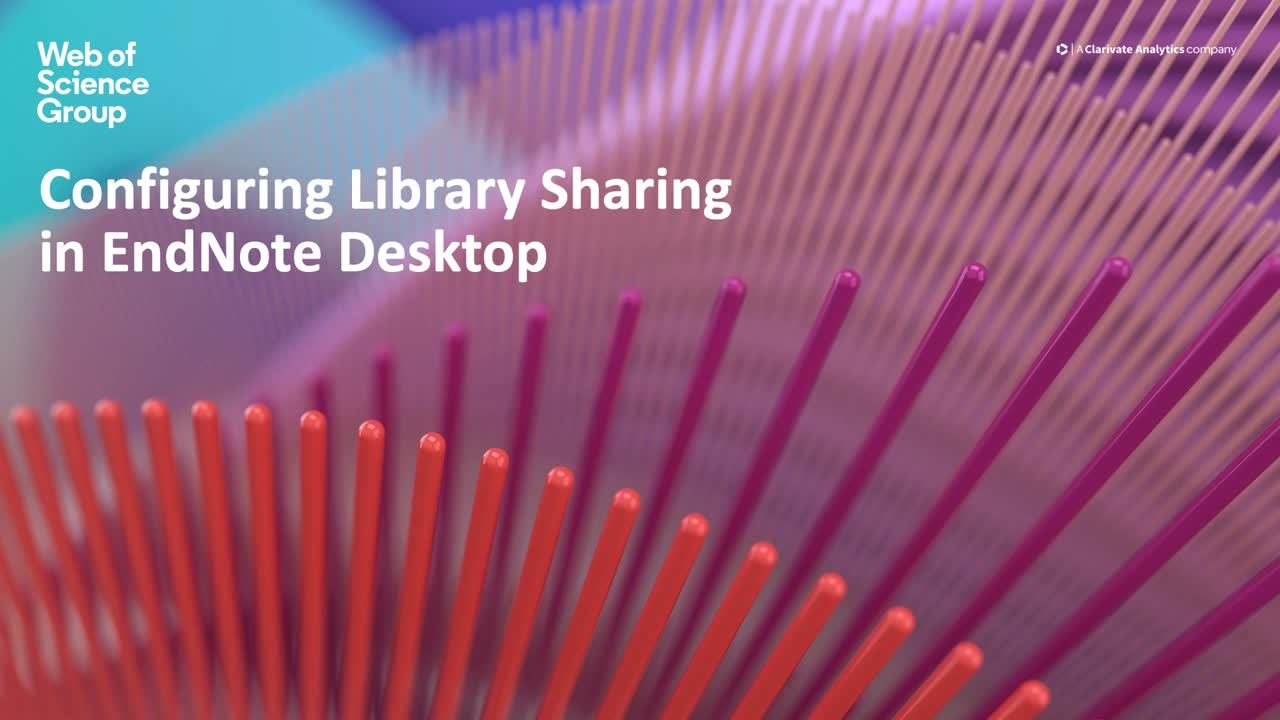 Configuring Library Sharing in EndNote Desktop