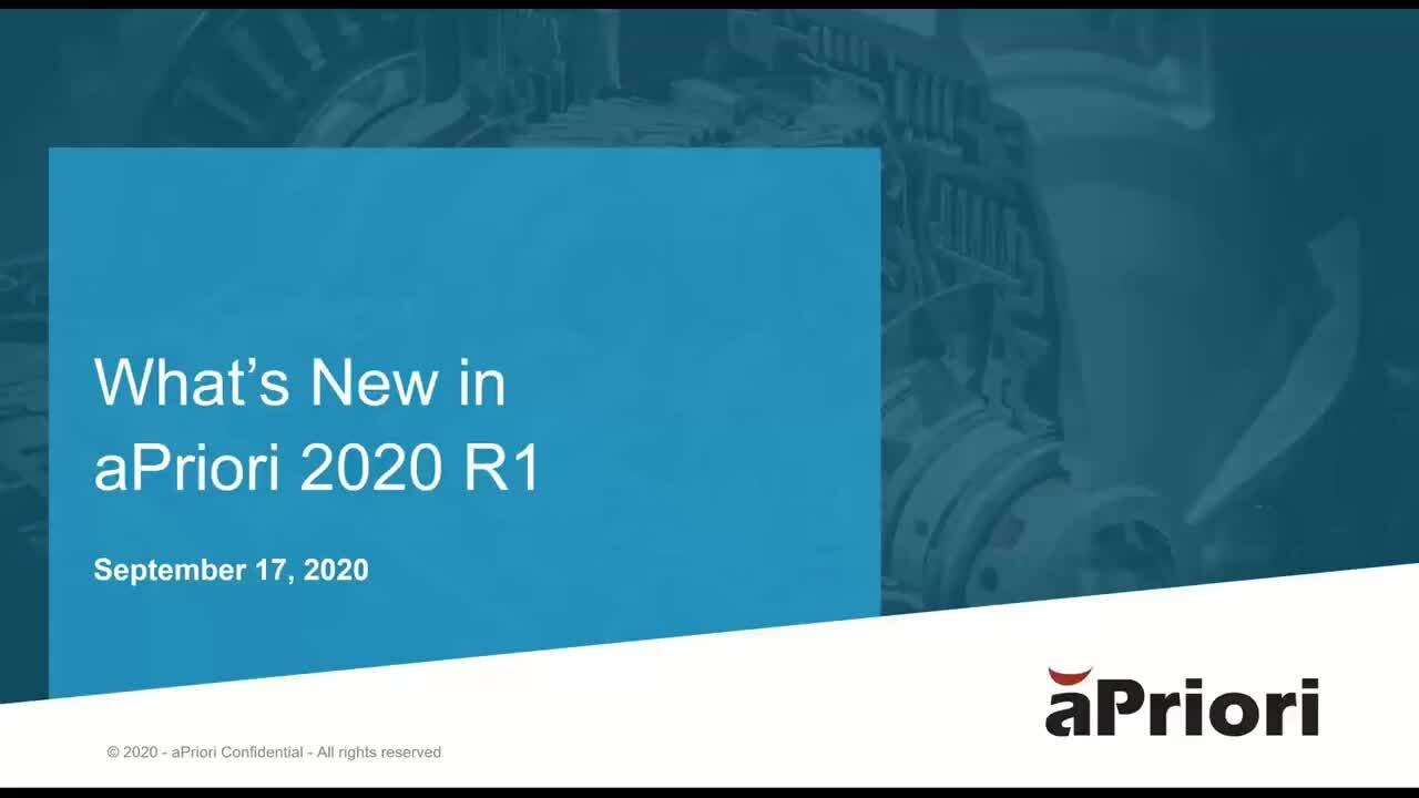 What's New in aPriori 2020 R1
