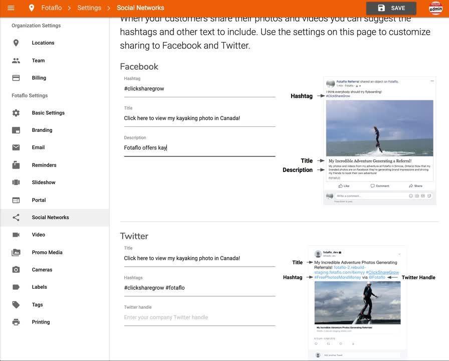 Settings - Social Networks