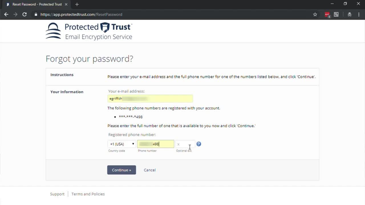 How to Reset your Protected Trust Email Encryption Password