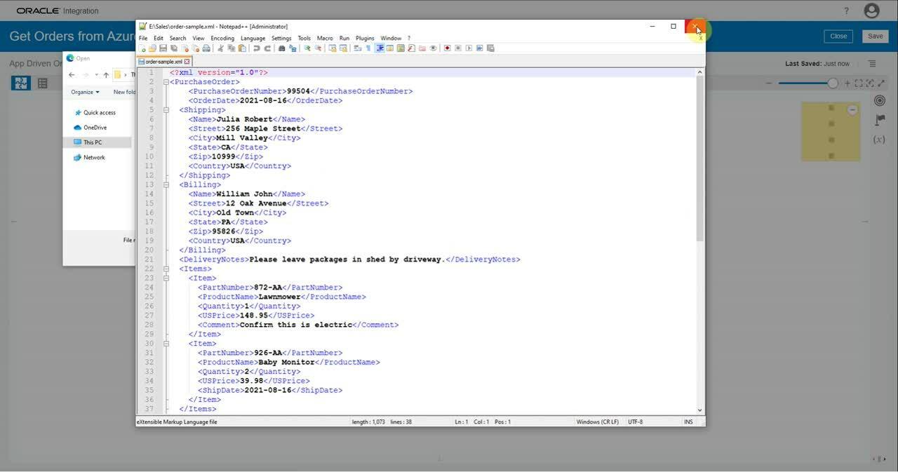 OIC Azure website-demo-advantco-azure-adapter
