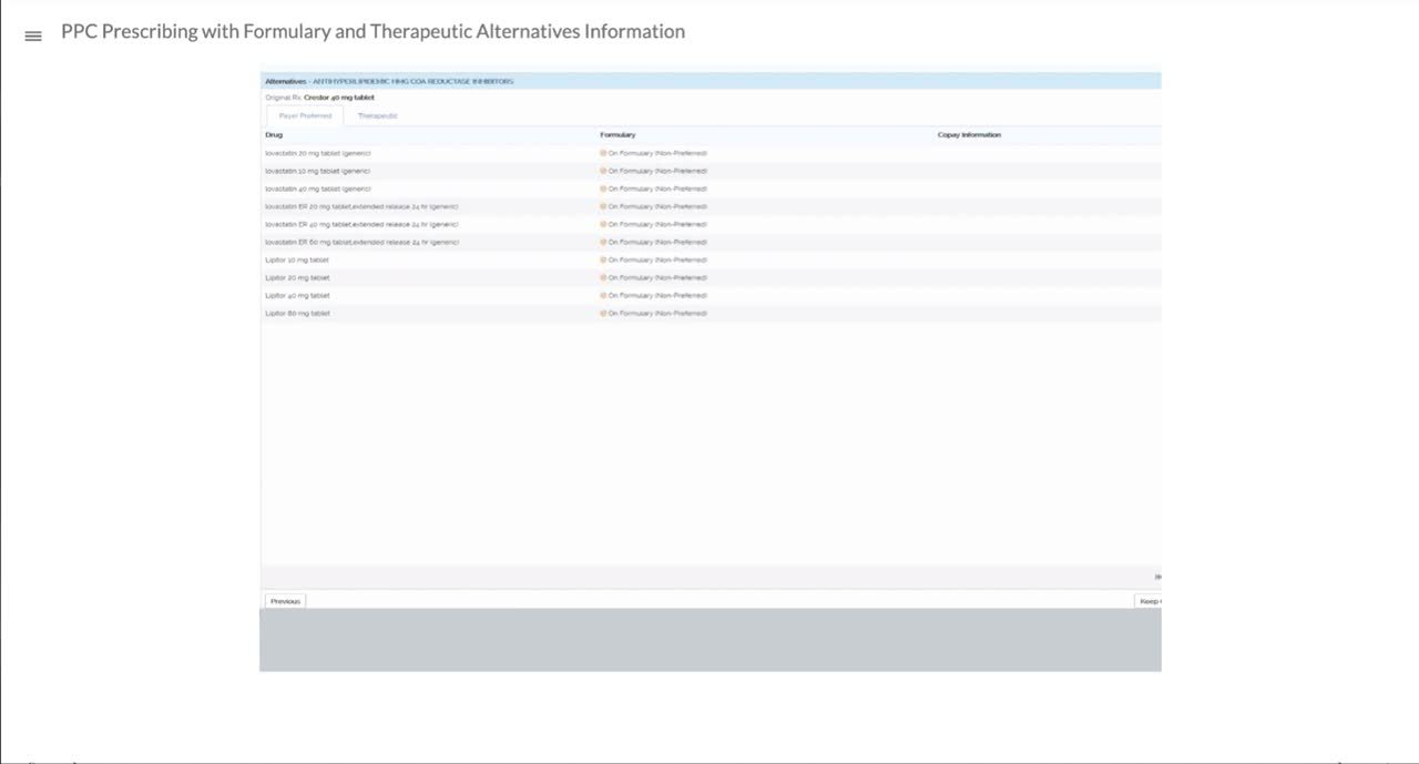 PPC Prescribing with Formulary and Therapeutic Alternatives Information
