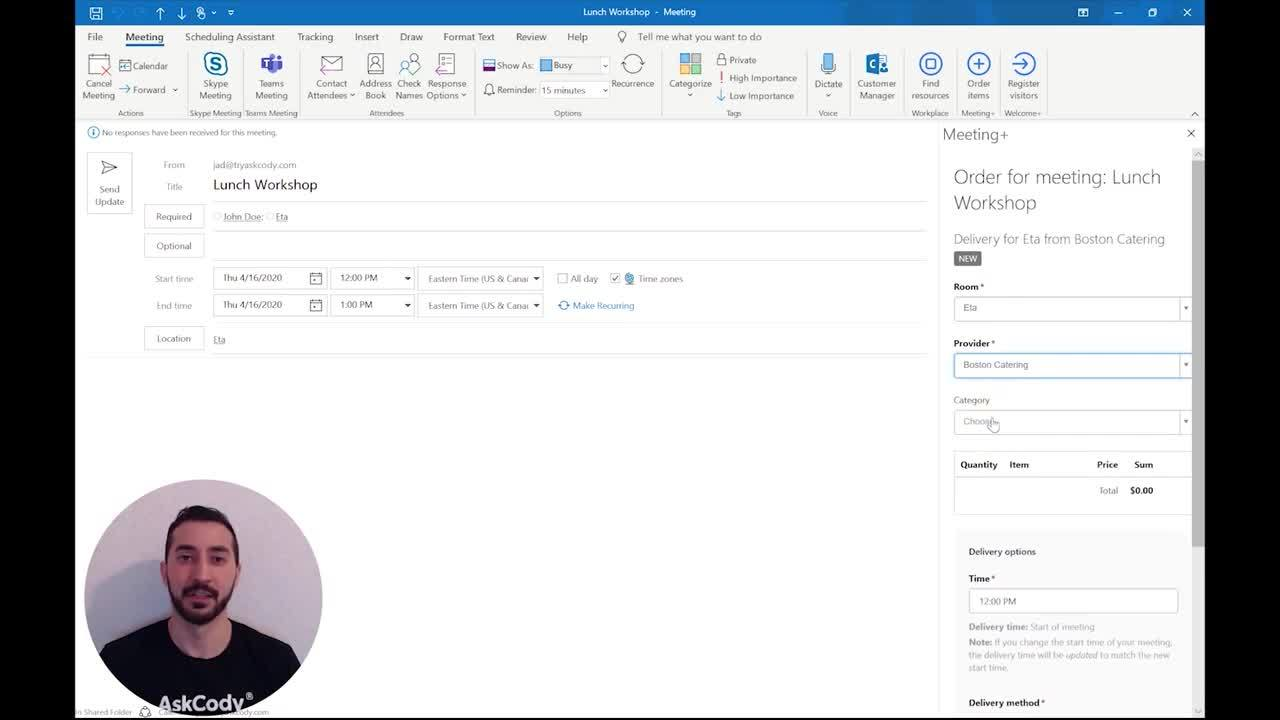 How to use the AskCody Meeting Service Add-in for Outlook
