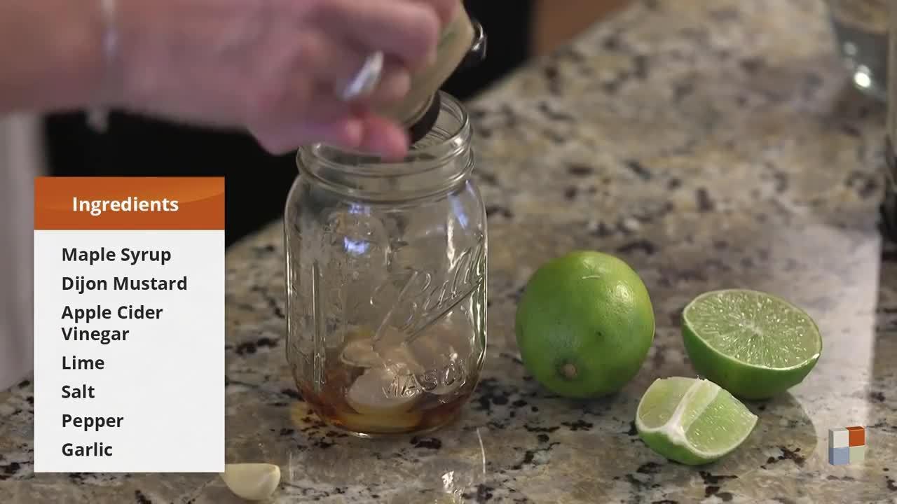 Mason Jar Salad - Roasted Sweet Potato2C Quinoa2C and Kale with a Maple Lime Vinaigrette