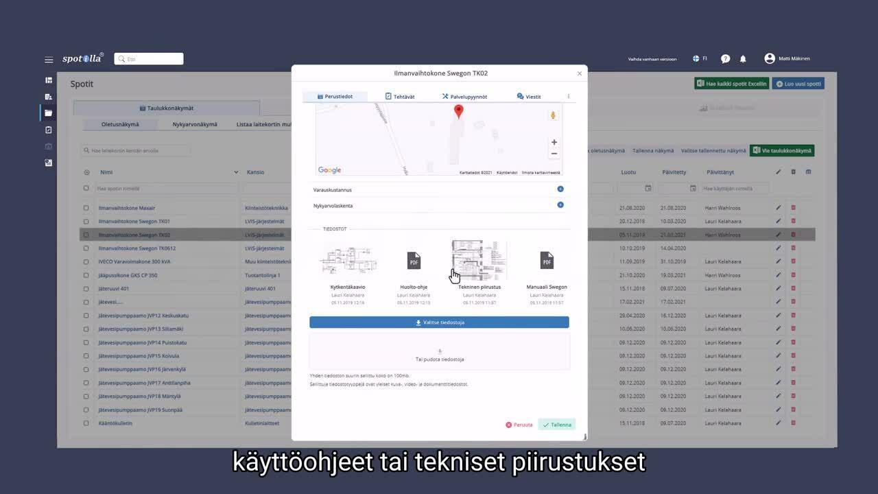 Spotilla käyttöliittymä - Video 4 - oikeat laitetiedot huoltotehtävillä