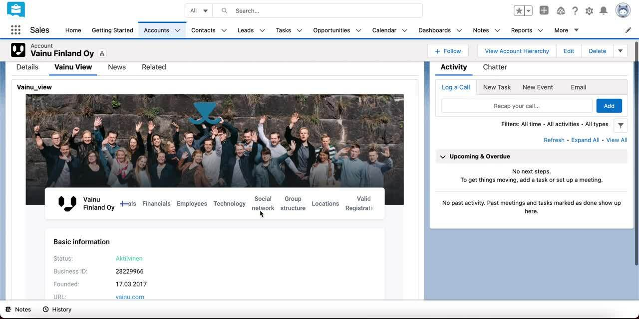 Vainu View Salesforce