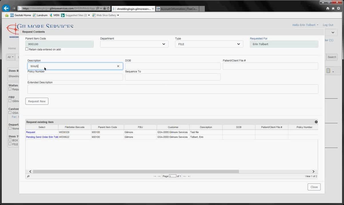 Web Portal_Requesting a File
