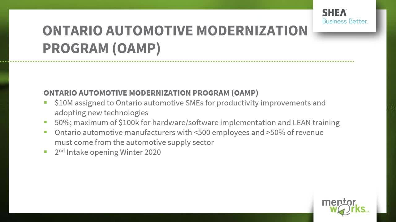 Funding for Southern Ontario Manufacturers - Webinar