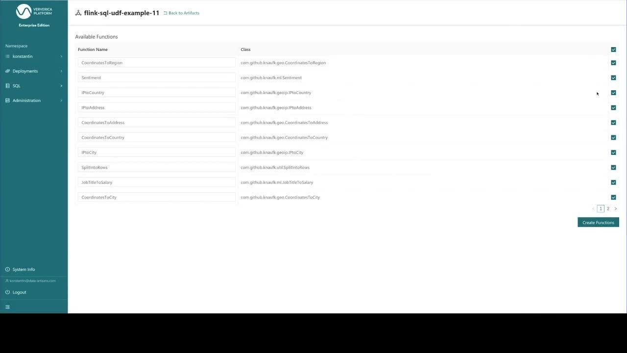 Flink SQL on Ververica Platform, Flink SQL, UDF, User Defined Functions