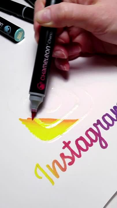 Instagram Logo Drawing Coloring Color Blends Art