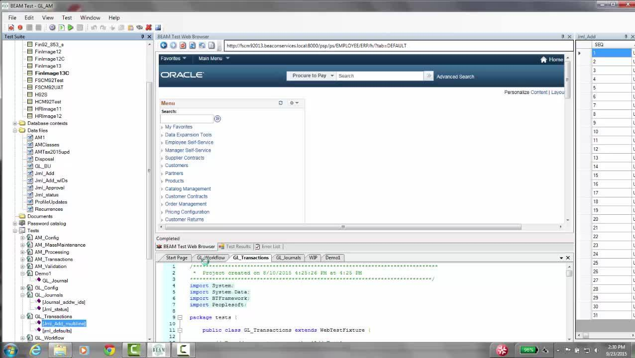 V001F BEAM Test Overview with PeopleSoft Financials