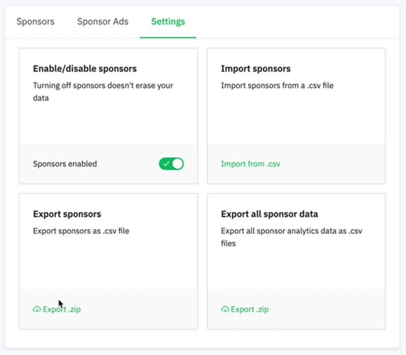 CSV - import and export sponsors