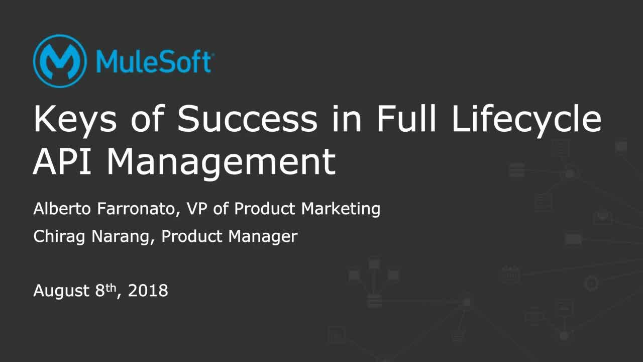Webinar: Keys of success in full lifecycle API management