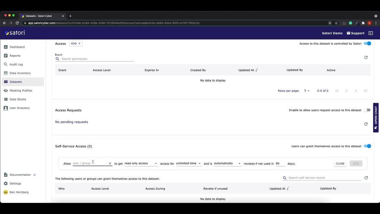 Redshift self-service data access using Satori