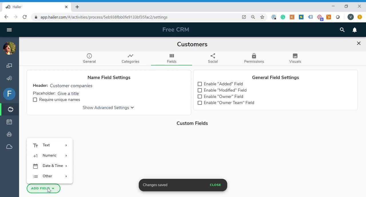 Configure customer dataset