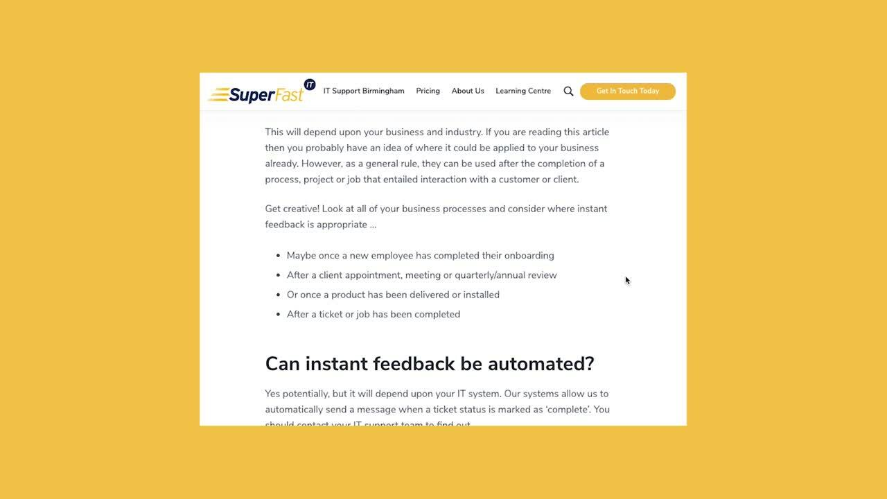 Implementing Instant Feedback IT support Birmingham