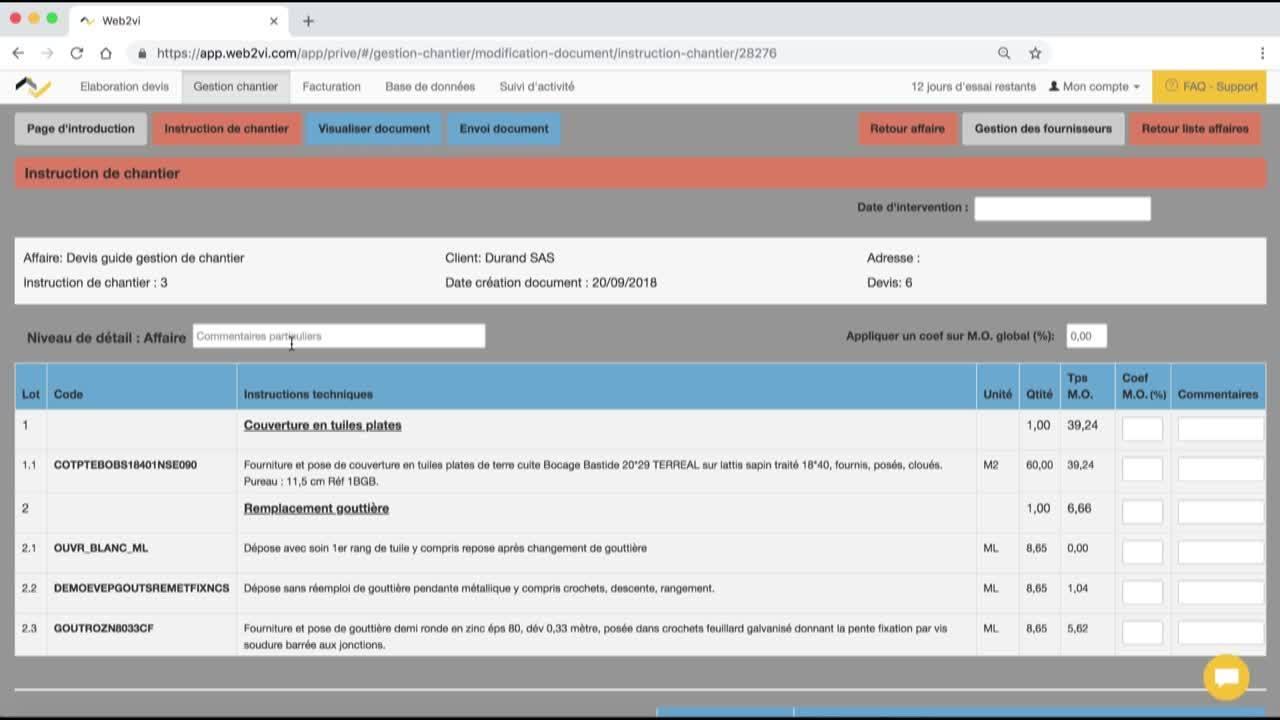 Tuto - Documents gestion de chantier V1