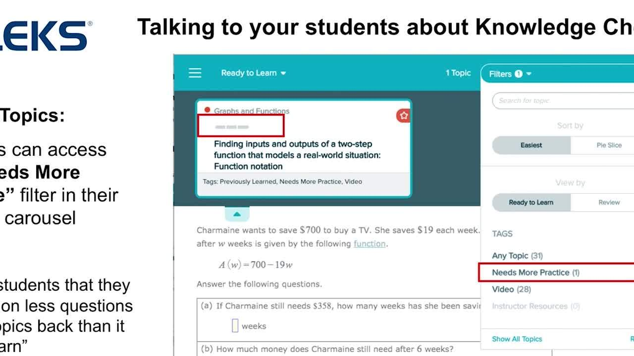 ALEKS How to Talk to Students about Knowledge Checks