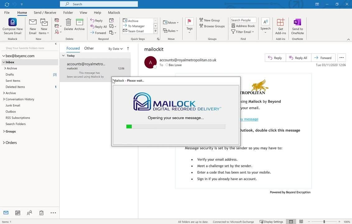 Reading a Mailock Secure email Via the Outlook add in