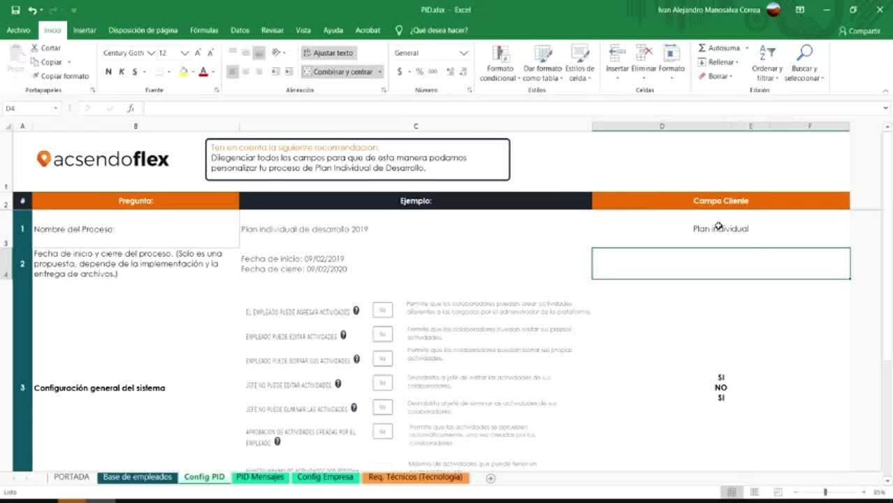 Como llenar archivo de Plan Individual de desarrollo