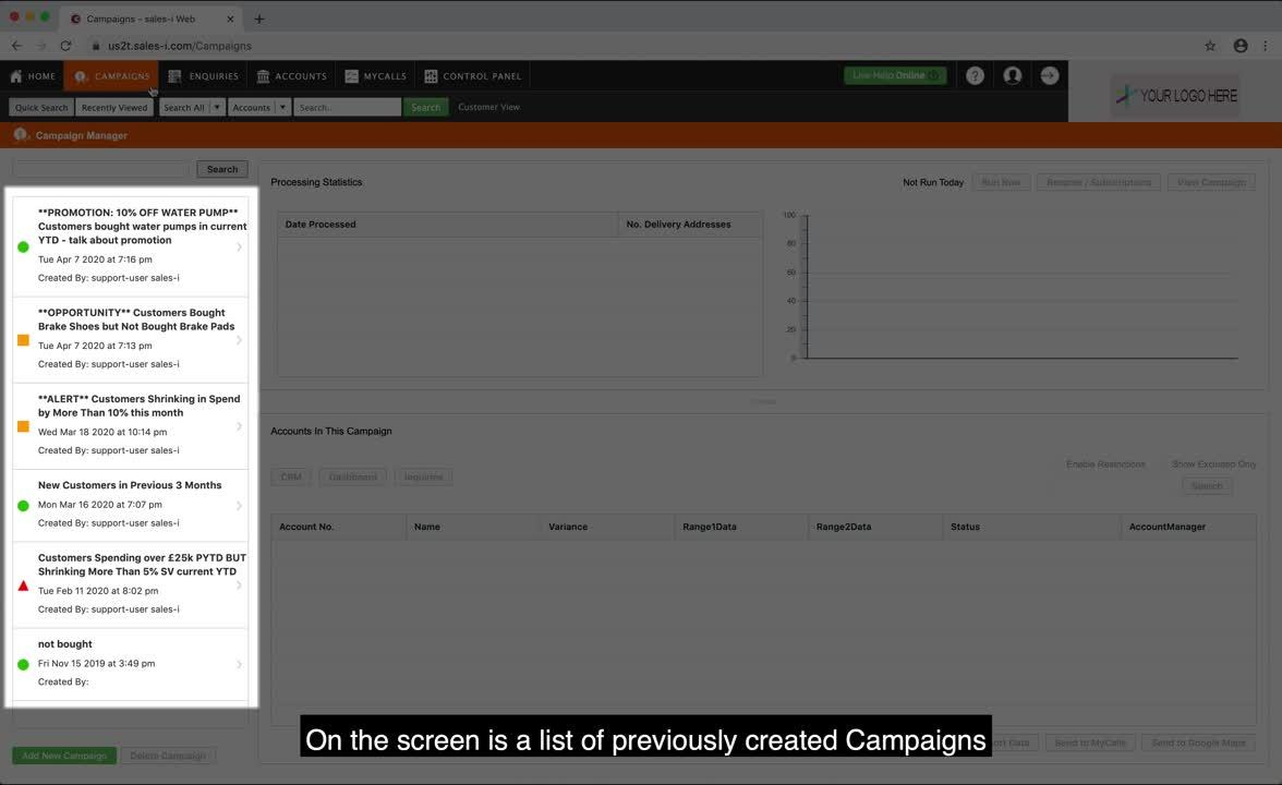 4.1 Viewing and tracking Campaign Results via Processing Statistics