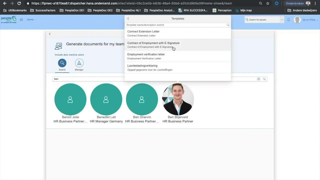 PeopleDoc for SuccessFactors - Generating & Signing Document