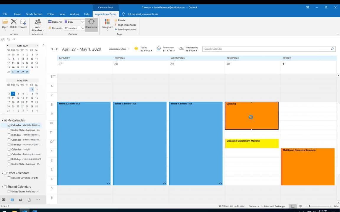 2020.05 Outlook Calendar Views