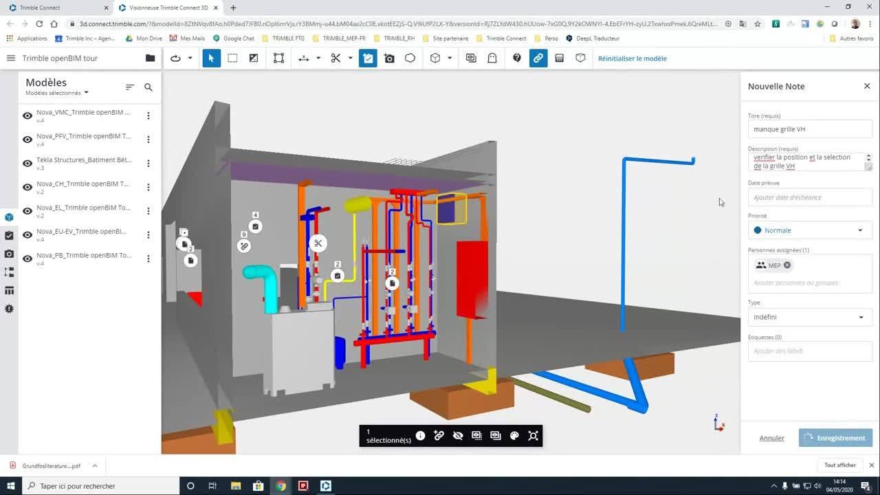 Presentation des fonctionnalites avancees présentent dans Trimble Connect