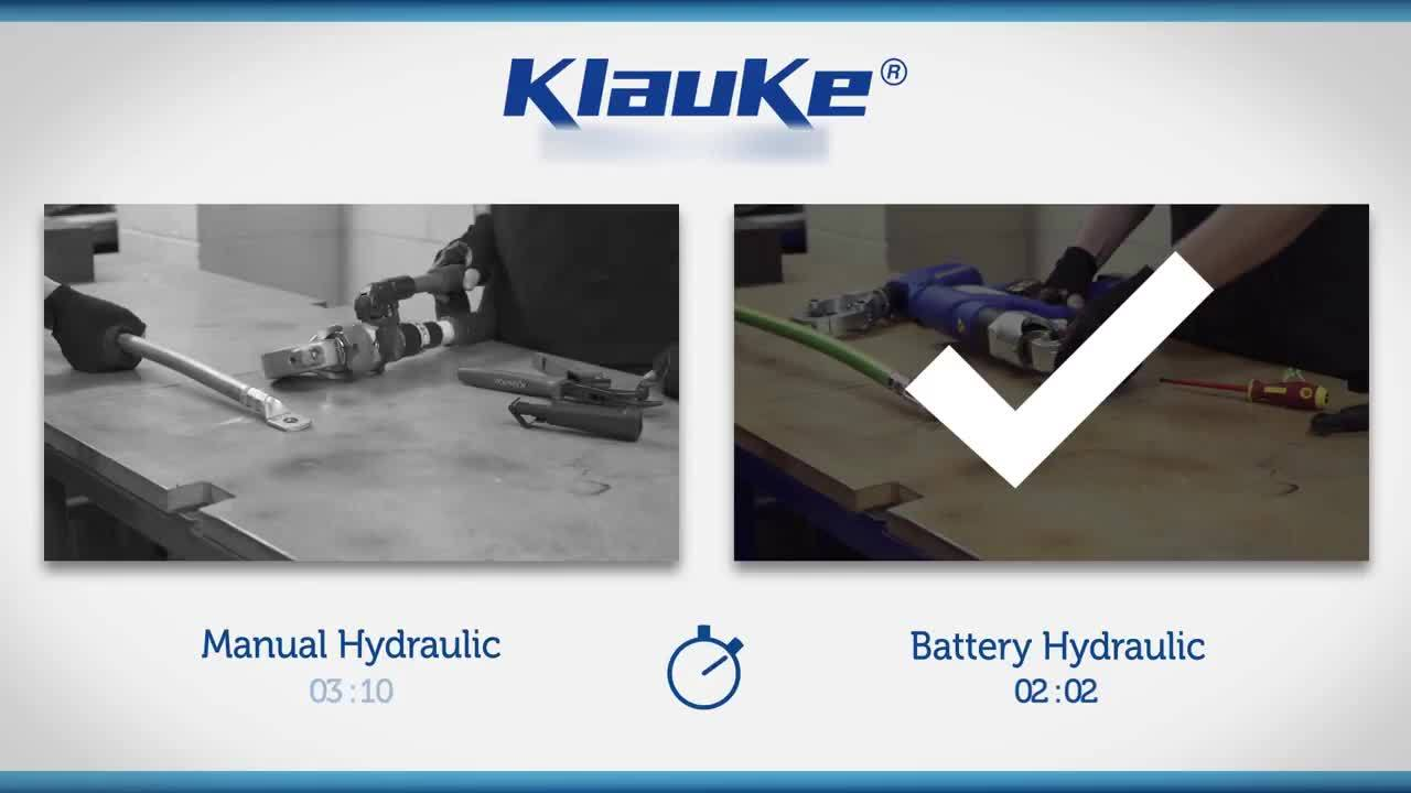 Comparison of manual vs battery-powered tools for cable cutting from Klauke