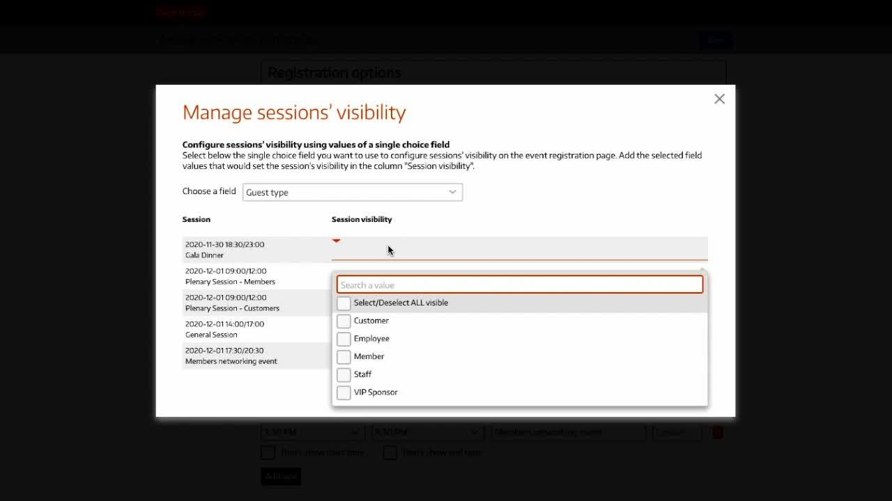 Configuring Sessions Visibility
