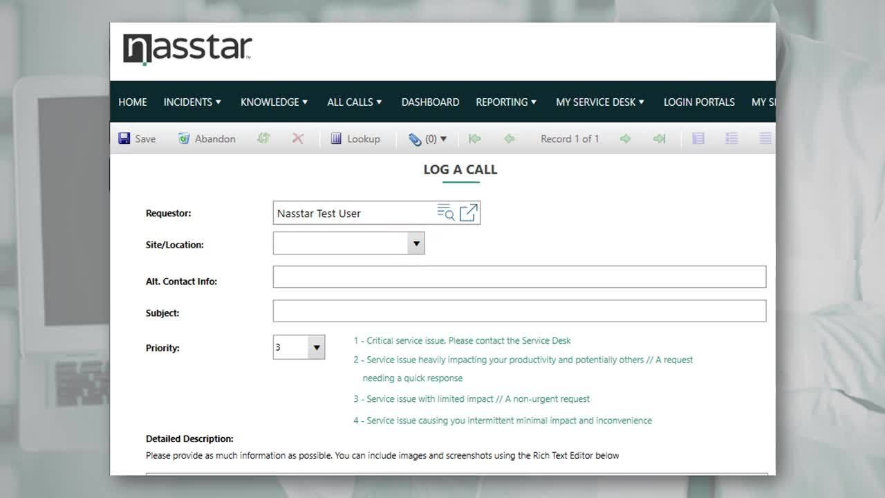 03 Logging a call using the Nasstar Support Portal