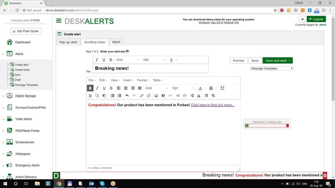 DeskAlerts Desktop Ticker Software