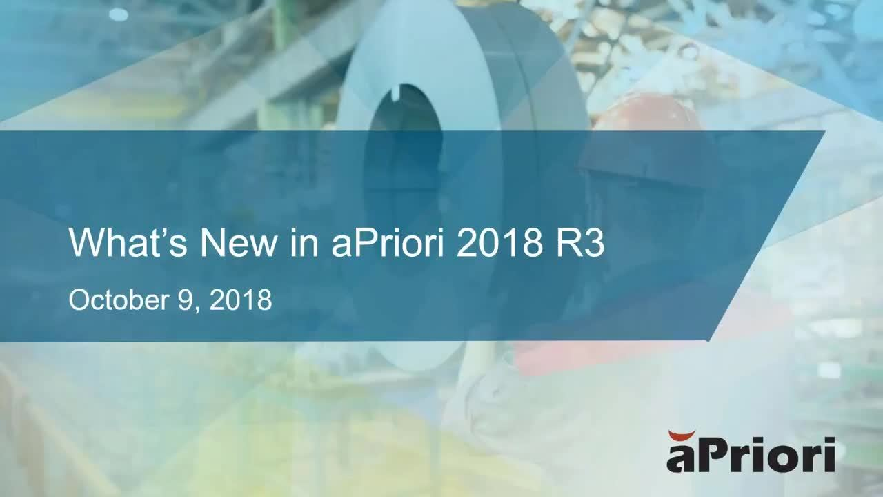 What's New in aPriori Professional 2018 R3