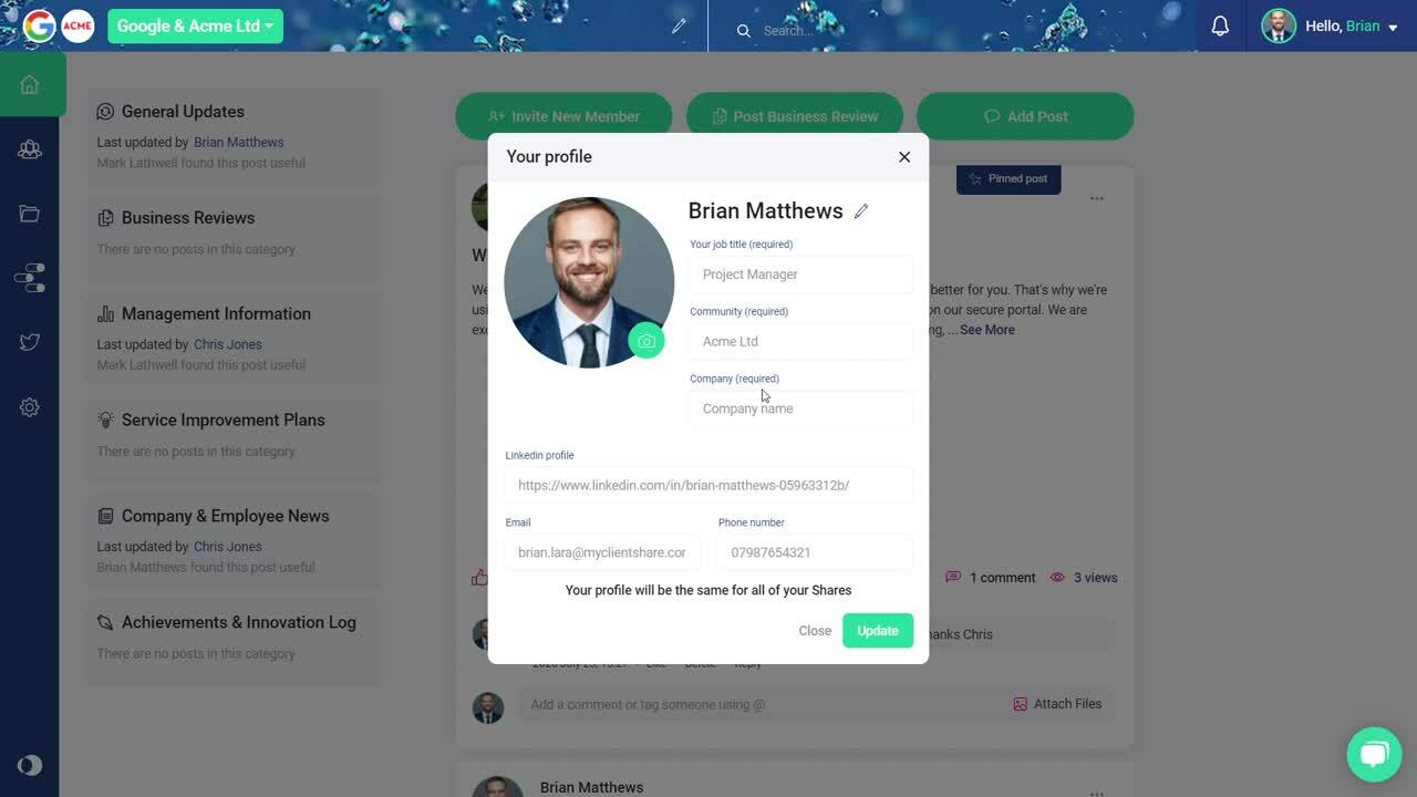 Updating your Clientshare Profile