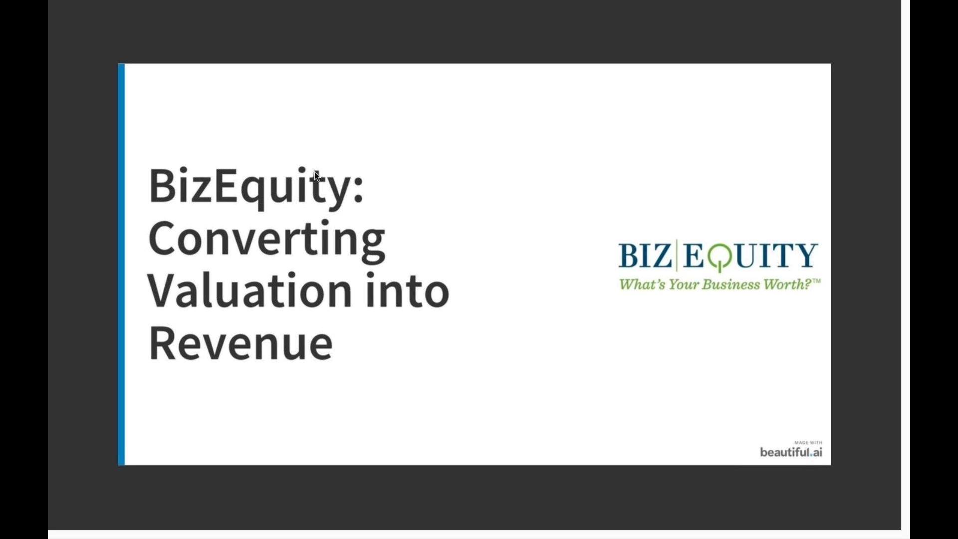 Q1. Best Practice Webinar - Converting Valuation into Revenue