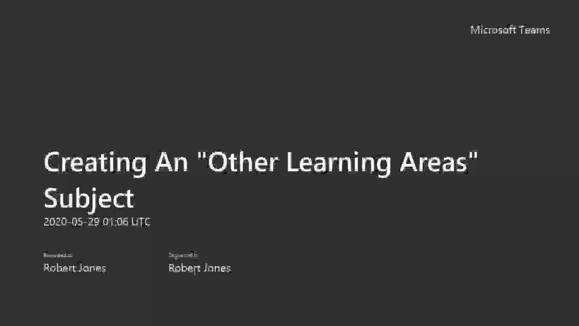 4.1 Creating An _Other Learning Areas_ Subject