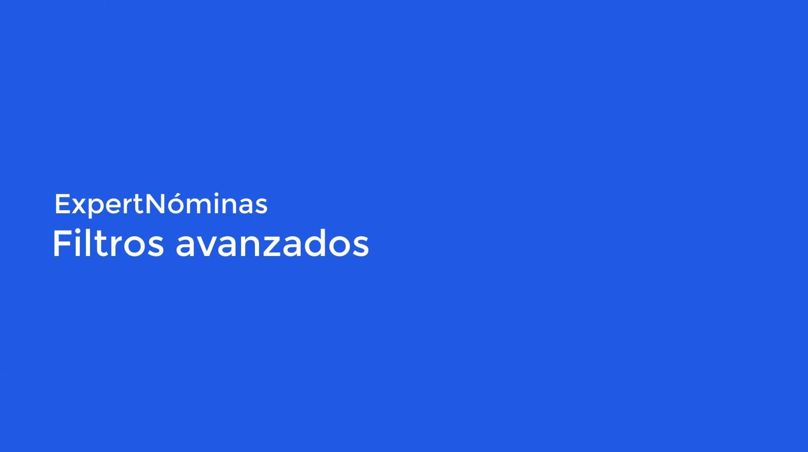 Filtros avanzados Nominas