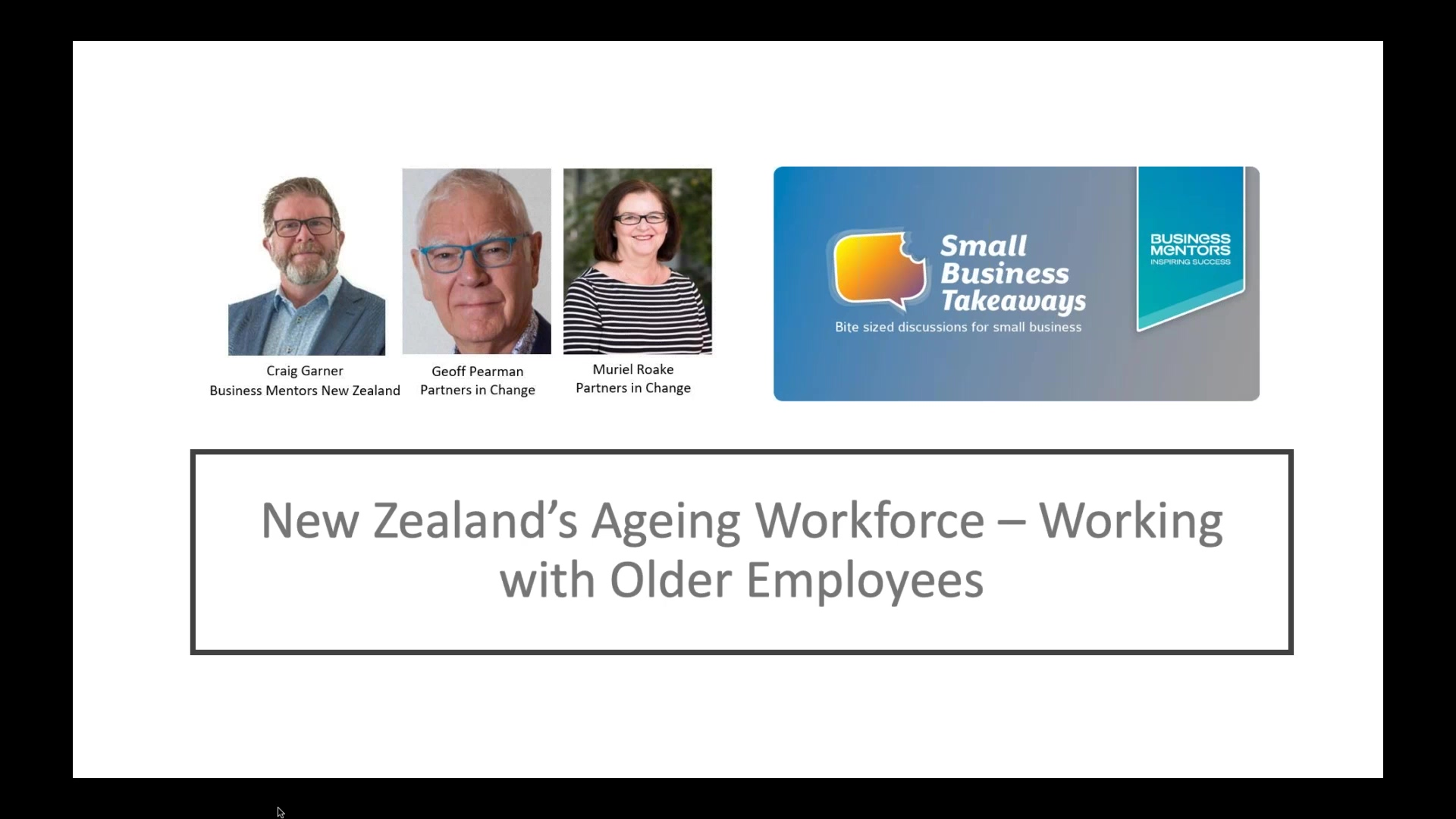 BMNZ New Zealands Ageing Workforce - Working with Older Employees
