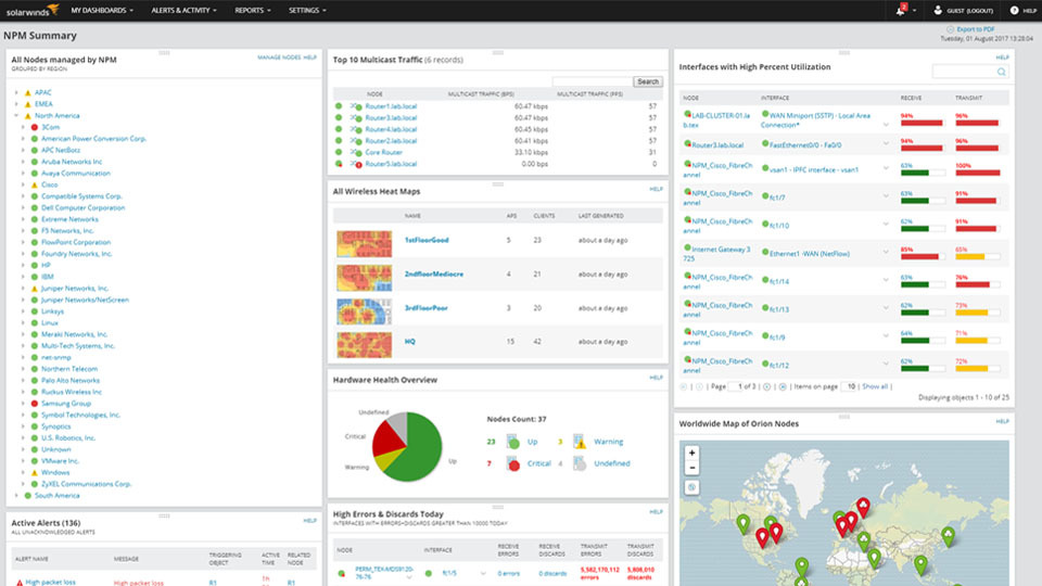 network operations management solarwinds