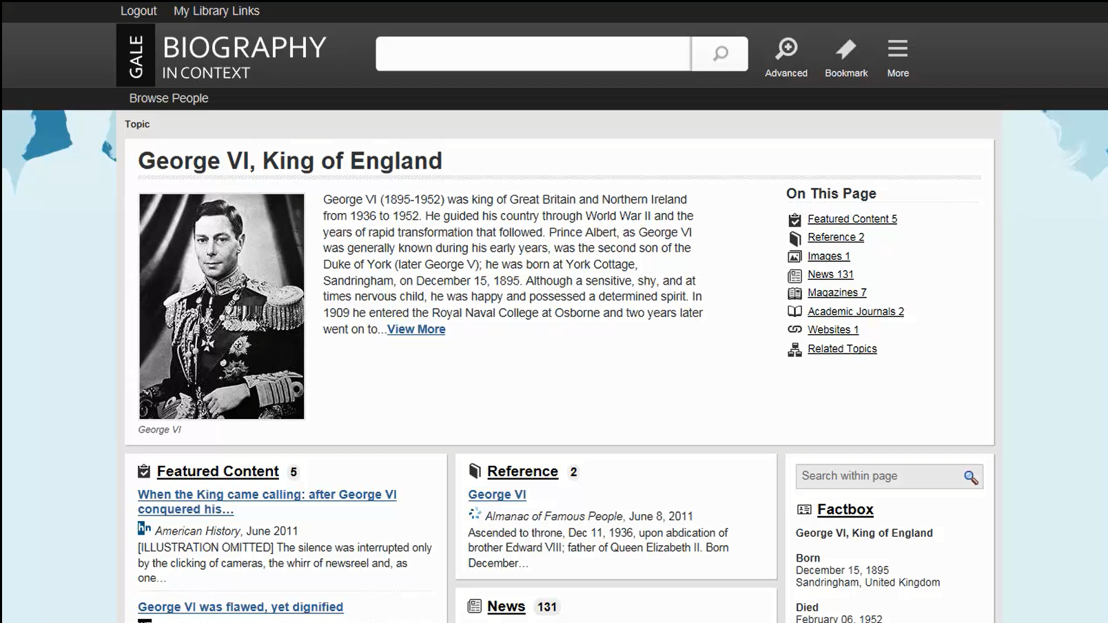 Biography In Context - Topic Pages and Documents