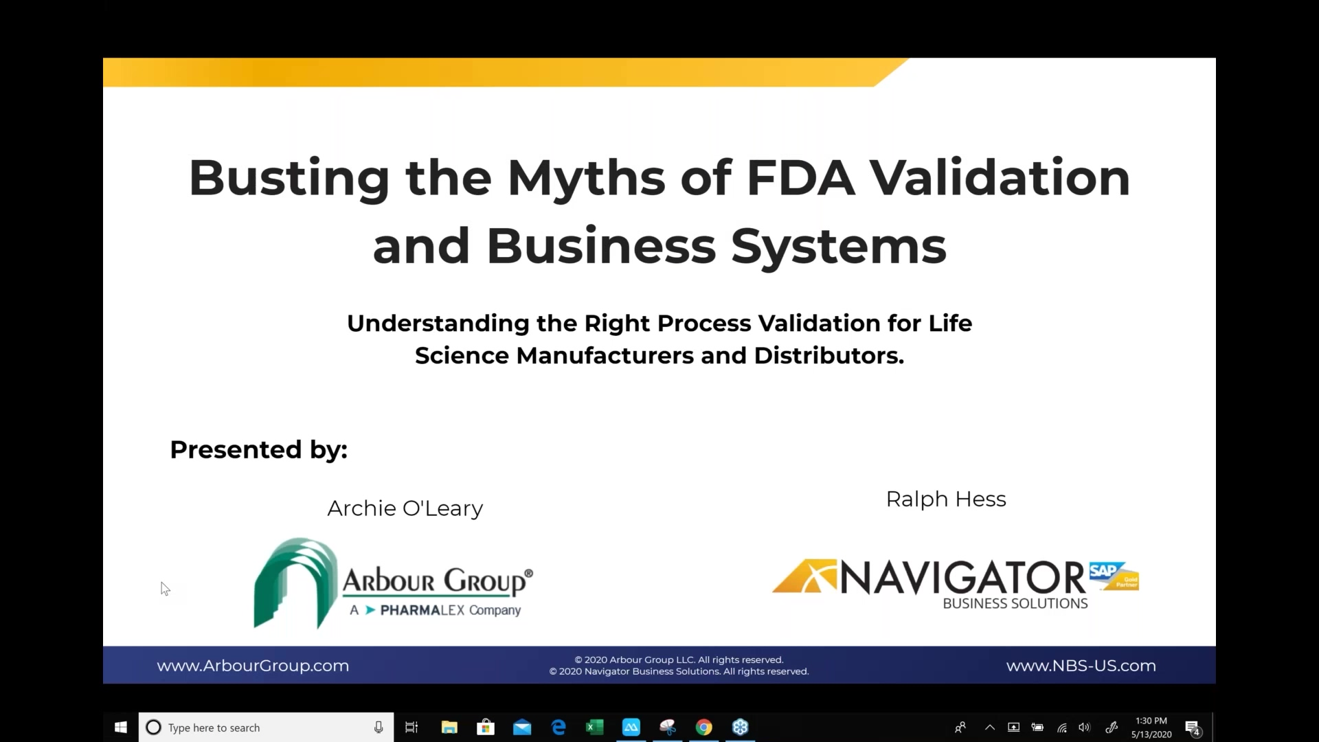 Busting the Myths of FDA Validation and Business Systems_13May2020_cut