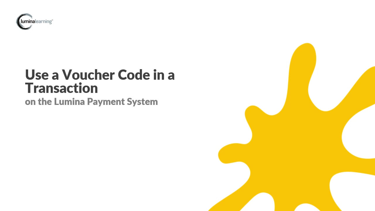 Use a Voucher code in a transaction - New Payment System SYSTEM GUIDE